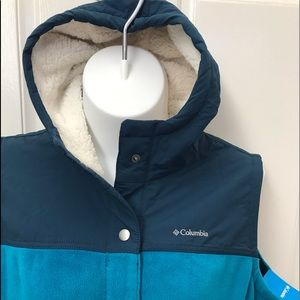 NEW wTag-COLUMBIA Blue Overlay Hooded Vest 3X